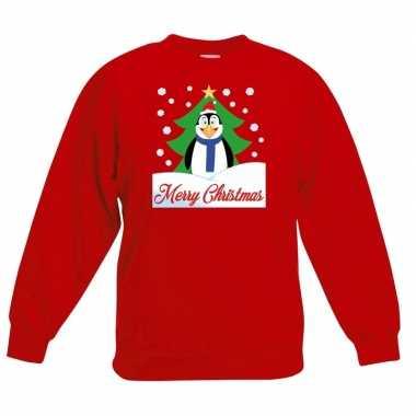 Foute Kersttrui Pinguin.Foute Kersttrui Pinguin Kerstboom Rood Jongens Meisjes Foute