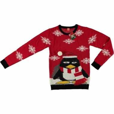 Foute kersttrui pinguin rood volwassenen