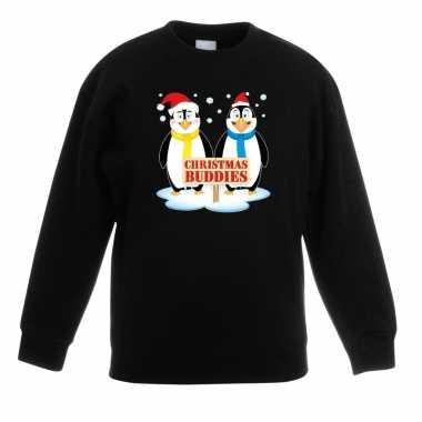 Foute kersttrui pinguin vriendjes zwart jongens meisjes