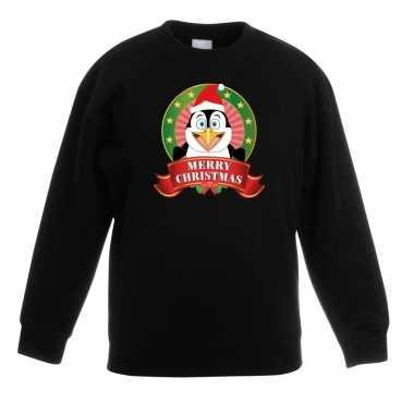 Foute kersttrui pinguin zwart jongens meisjes