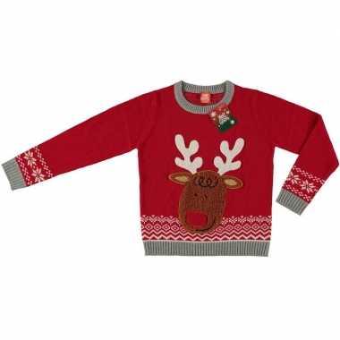 Foute kersttrui rendier rood kinderen