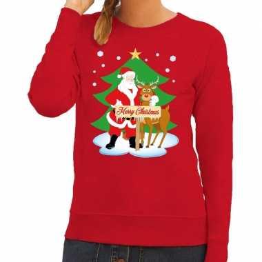 Foute kersttrui rood kerstman rudolf dames