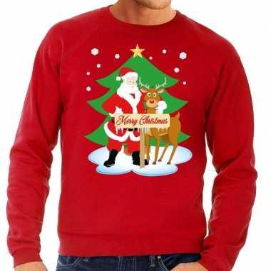 Foute kersttrui rood kerstman rudolf heren