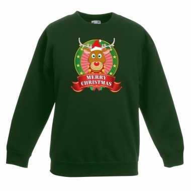 Foute kersttrui rudolf rendier groen jongens meisjes