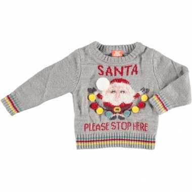 Foute kersttrui santa please stop here baby