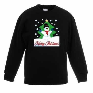 Foute kersttrui sneeuwman kerstboom zwart jongens meisjes