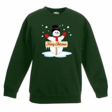 Foute kersttrui sneeuwpop groen jongens meisjes