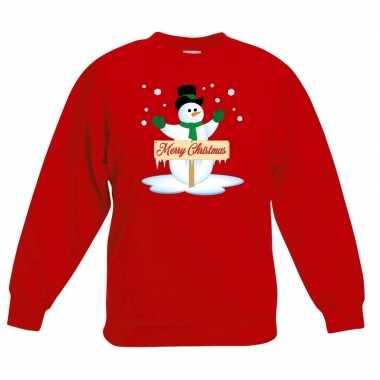 Foute kersttrui sneeuwpop rood jongens meisjes