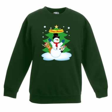 Foute kersttrui sneeuwpop vrienden kerstboom groen jongens meisjes