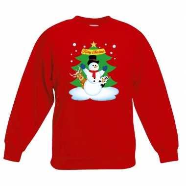 Foute kersttrui sneeuwpop vrienden kerstboom rood jongens meisjes