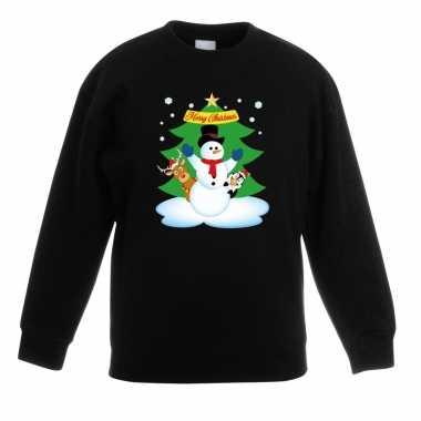 Foute kersttrui sneeuwpop vrienden kerstboom zwart jongens meisjes