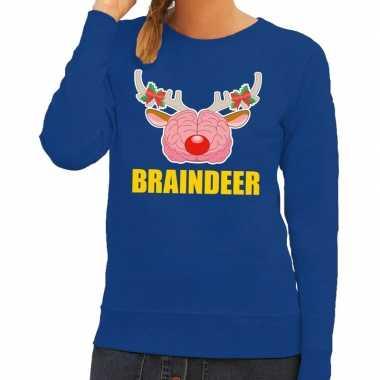 Foute kersttrui / sweater braindeer blauw dames