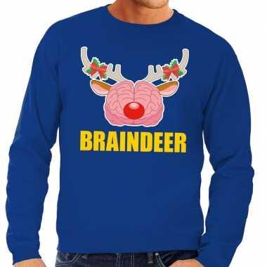 Foute kersttrui / sweater braindeer blauw heren