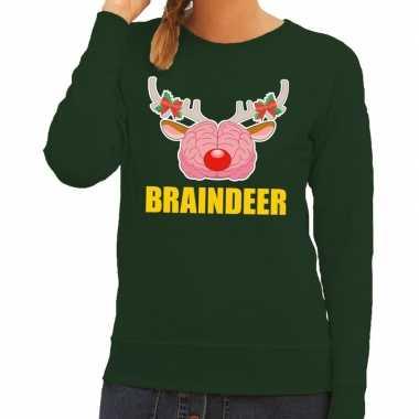 Foute kersttrui / sweater braindeer groen dames