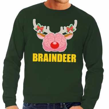 Foute kersttrui / sweater braindeer groen heren