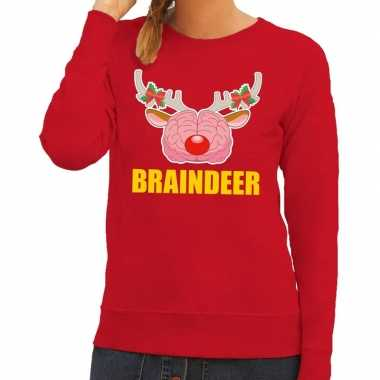 Foute kersttrui / sweater braindeer rood dames