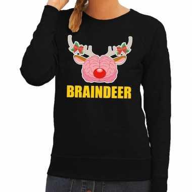 Foute kersttrui / sweater braindeer zwart dames
