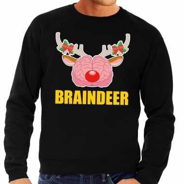 Foute kersttrui / sweater braindeer zwart heren