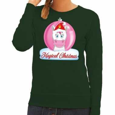 Foute kersttrui / sweater eenhoorn magical christmas groen dames