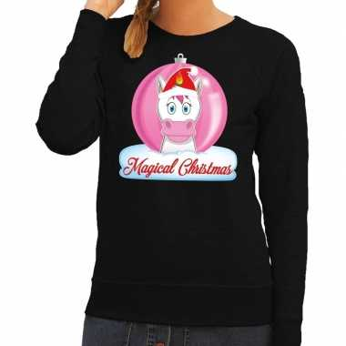 Foute kersttrui / sweater eenhoorn magical christmas zwart dames