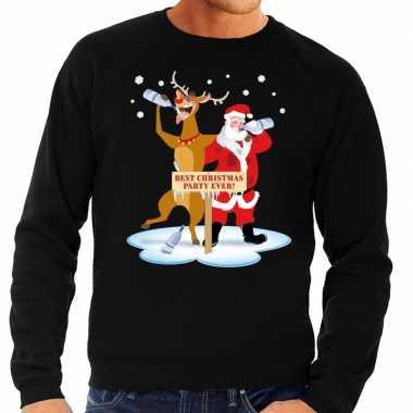 Foute kersttrui zwart een dronken kerstman rudolf heren