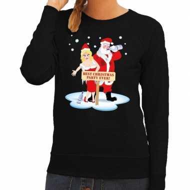 Foute kersttrui zwart een dronken kerstman zijn vrouw dames