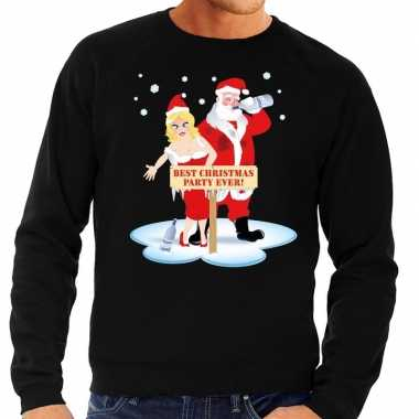Foute kersttrui zwart een dronken kerstman zijn vrouw heren