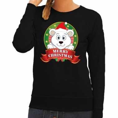Foute kersttrui zwart ijsbeertje dames