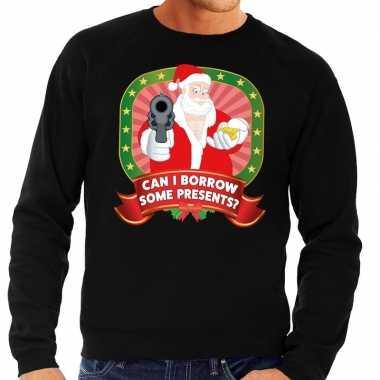 Foute kersttrui zwart kerstman pistool can i borrow some presents he