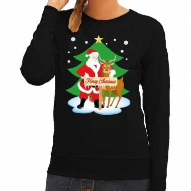 Foute kersttrui zwart kerstman rudolf dames