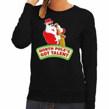 Foute kersttrui zwart kerstman saxofoon dames