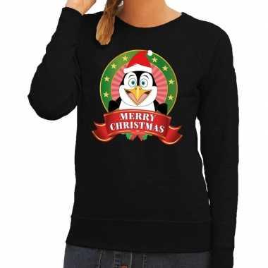 Foute kersttrui zwart pinguin dames