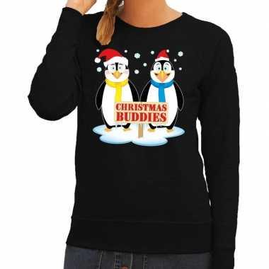 Foute kersttrui zwart pinguins dames
