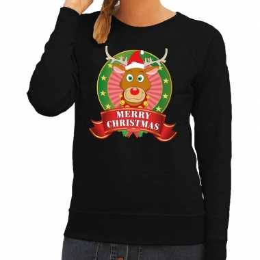Foute kersttrui zwart rudolf rendier dames