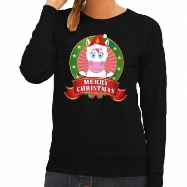 Foute kersttrui zwart unicorn dames