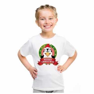 Foute pinguin kerstmis shirt wit jongens meisjes kersttrui