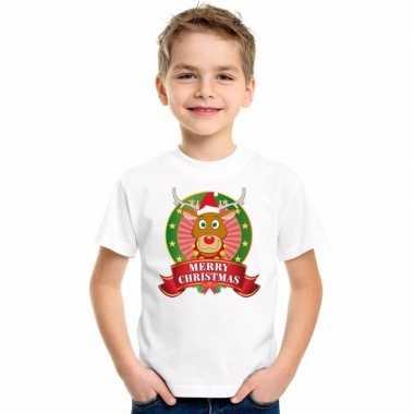 Foute rendier kerstmis shirt wit jongens meisjes kersttrui