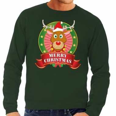 Foute rendieren kersttrui groen merry christmas heren