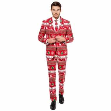 Foute rode business suit kerst thema kersttrui