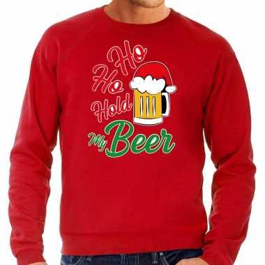 Foute rode kersttrui / kerstkleding ho ho hold my beer heren grote maten