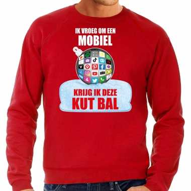 Foute rode kersttrui / kerstkleding ik vroeg om een mobiel krijg ik deze kut bal heren social media kerstbal