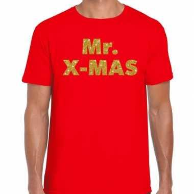 Foute rood kerstshirt / kerstkleding mr x mas gou glitterd rood heren kersttrui