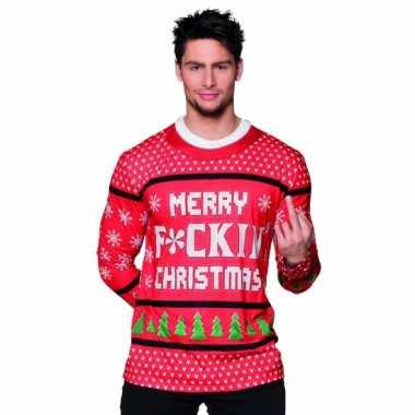 Foute verkleed kerst tekst heren kersttrui