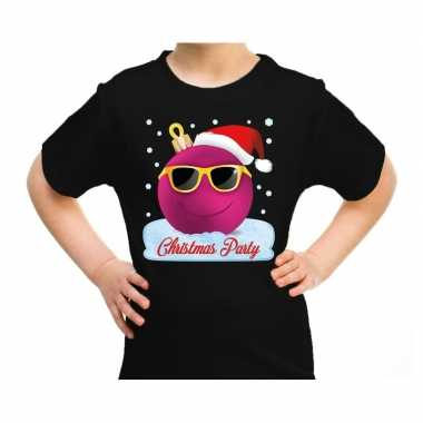Foute zwart / kerstkleding coole blauwe kerstbal christmas party kinderen kersttrui