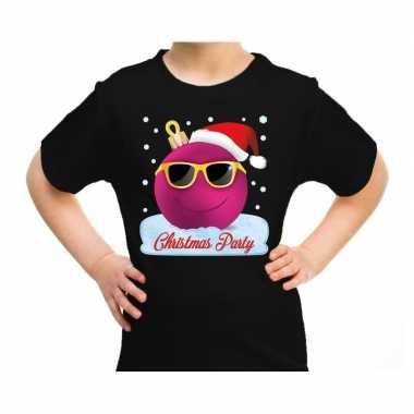 Foute zwart / kerstkleding coole roze kerstbal christmas party kinderen kersttrui