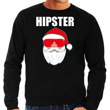 Foute zwarte kersttrui / kerstkleding hipster heren kerstman zonnebril