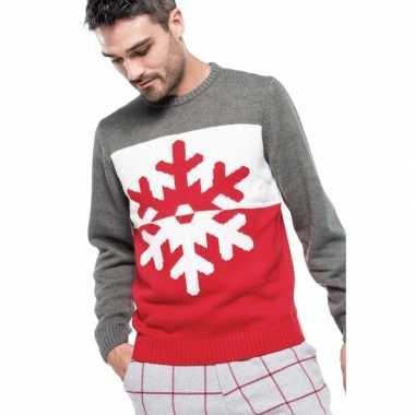 Grijs/rode foute/lelijke gebreide kersttrui sneeuwvlok print heren/v
