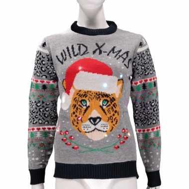 Grijze foute kersttrui wild x mas verlichting