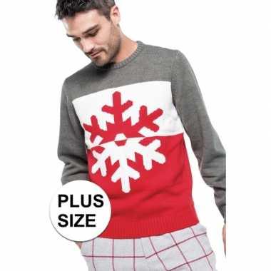 Lelijke Kersttrui.Grote Maat Grijs Rode Foute Lelijke Gebreide Kersttrui Sneeuwvlok Pr