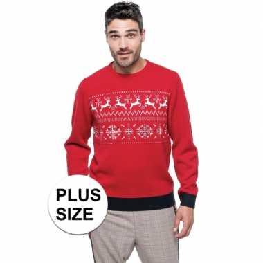 Grote maat rood/witte foute/lelijke gebreide kersttrui noorse print